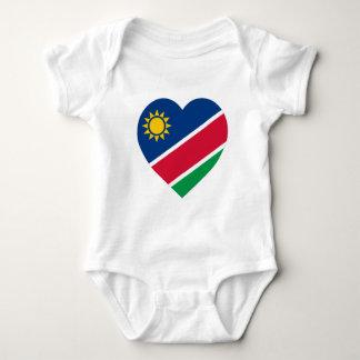 Namibia Flag Heart Baby Bodysuit