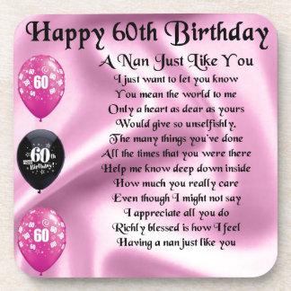 Nan Poem  -  60th Birthday Drink Coaster