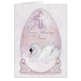 Nana, Easter Card With Decorated Egg, Swan And Blo