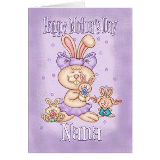 Nana Mother's Day Card - Cute Rabbit With Her Litt