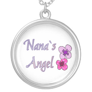 Nana`s Angel Flowers Round Pendant Necklace