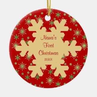 Nana s First Christmas Red Snowflake Ornament