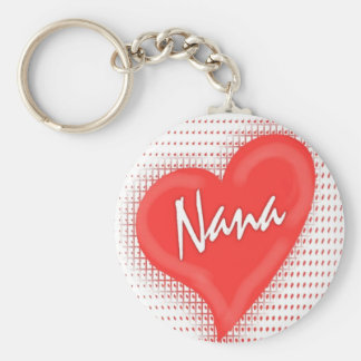 Nana`s Heart Basic Round Button Key Ring
