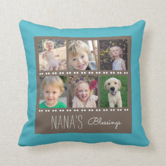 Nana's Blessings Photo Collage Teal and Brown Cushion