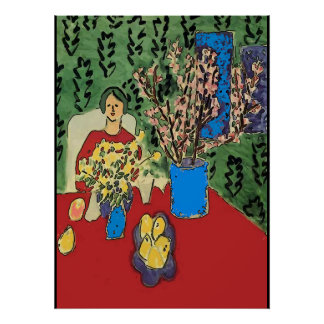 Nancy at Table with Flowersl, Matisse Style Poster