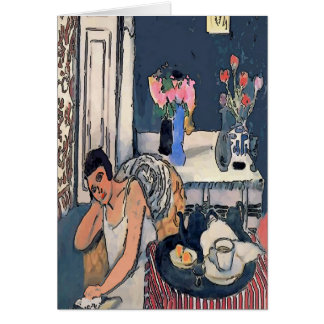 Nancy Breakf With Flowers Abstract, Matisse Style, Card