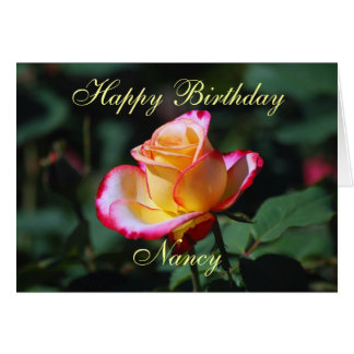 Nancy Happy Birthday Red, Yellow and White Rose Card