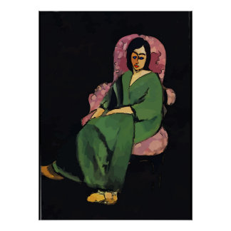 Nancy in Green, Sitting, Matisse Style Poster