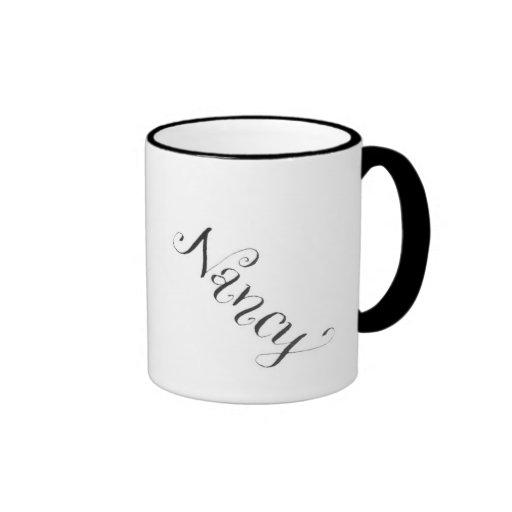 Nancy mug in black and white