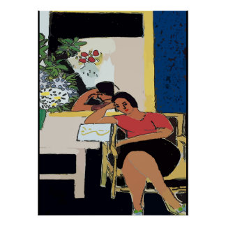 Nancy on Cell, Matisse Style Poster