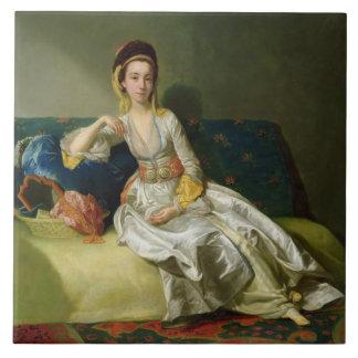Nancy Parsons in Turkish Dress, c.1771 (oil on cop Large Square Tile