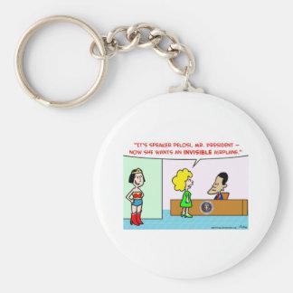 nancy pelosi obama invisible airplane basic round button key ring