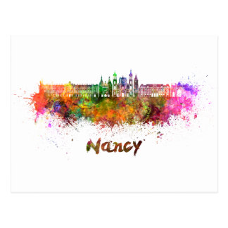 Nancy skyline in watercolor postcard