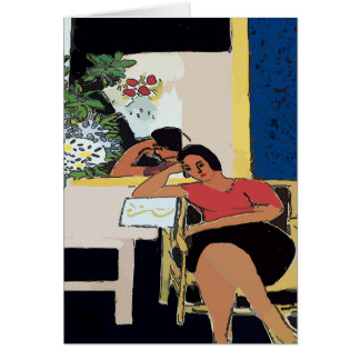 Nancy With Cell Phone Abstract, Matisse Style, Card