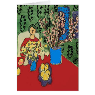 Nancy With Flowers Abstract, Matisse Style, Card