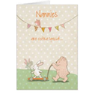 Nanny Thanks Bear and Bunny Card