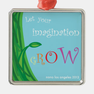 NaNoLA 2013 - Let Your Imagination Grow Silver-Colored Square Decoration