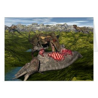 Nanotyrannus eating dead triceratops card