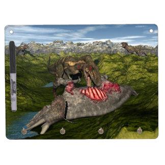 Nanotyrannus eating dead triceratops dry erase board with key ring holder