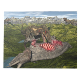 Nanotyrannus eating dead triceratops notepad