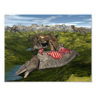 Nanotyrannus eating dead triceratops photo print