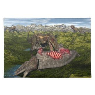 Nanotyrannus eating dead triceratops place mat