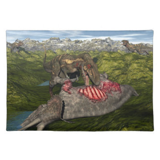 Nanotyrannus eating dead triceratops placemat
