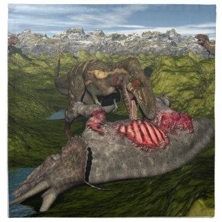 Nanotyrannus eating dead triceratops printed napkins