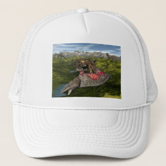 Nanotyrannus eating dead triceratops trucker hat