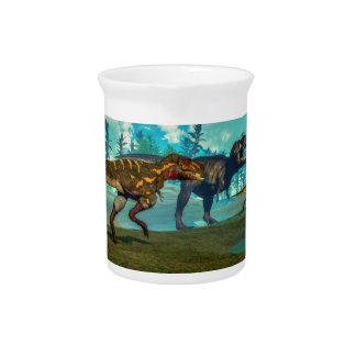 Nanotyrannus hunting small tyrannosaurus beverage pitcher