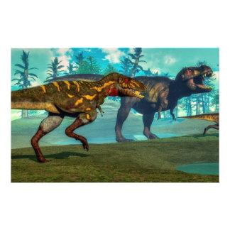Nanotyrannus hunting small tyrannosaurus stationery