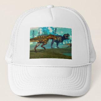 Nanotyrannus hunting small tyrannosaurus trucker hat