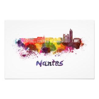 Nantes skyline in watercolor photo print