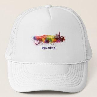 Nantes skyline in watercolor trucker hat