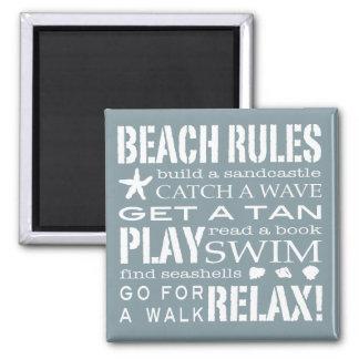 Nantucket Beach Rules Blue & White Magnet
