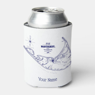 Nantucket Island MA Vintage Map Navy Blue Can Cooler