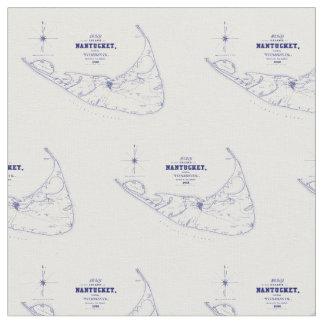 Nantucket Island MA Vintage Map Navy Blue Fabric