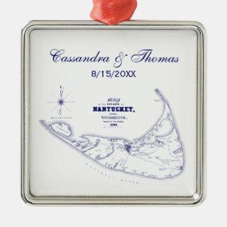 Nantucket Island MA Vintage Map Navy Blue Metal Ornament