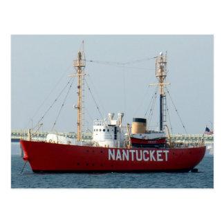 Nantucket MA Cape Cod Boat in Harbor Post Card