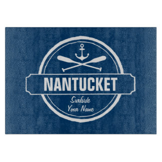 Nantucket, MA personalized name, nautical anchor Cutting Board