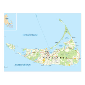 Nantucket Map Postcard