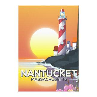 Nantucket Massachusetts lighthouse travel poster Canvas Print