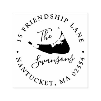 Nantucket Massachusetts Map Circle Self-inking Stamp