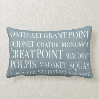Nantucket Place Names Blue Hazelnut & White Lumbar Cushion