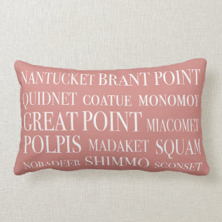 Nantucket Places Faded Red Beige & White Lumbar Cushion