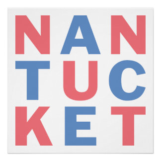 Nantucket red and blue typographic poster #1