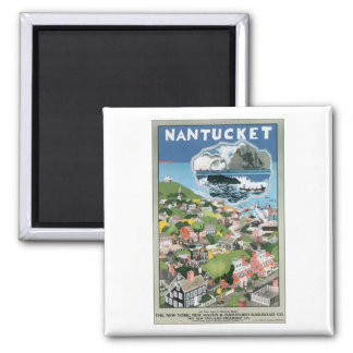 Nantucket Vintage Travel Poster Square Magnet