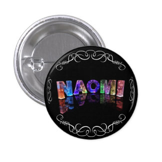 Naomi  - The Name Naomi in 3D Lights (Photograph) 3 Cm Round Badge