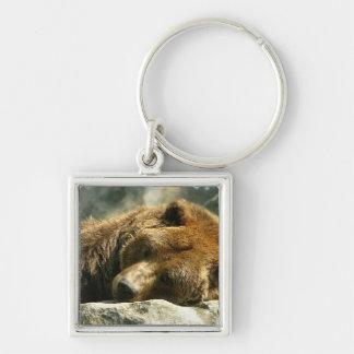 Nap Time Bear Silver-Colored Square Key Ring