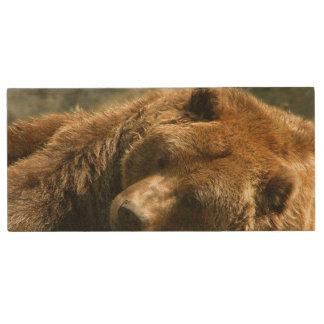 Nap Time Bear Wood USB Flash Drive